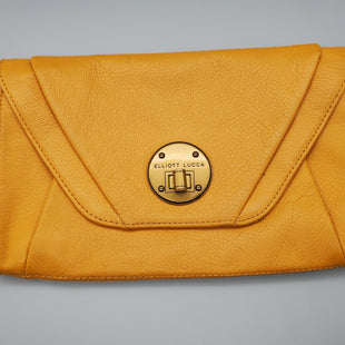 Primary Photo - BRAND: ELLIOT LUCCA STYLE: CLUTCH COLOR: MUSTARD SIZE: SMALL SKU: 115-115255-53619GOOD CONDITION, MINOR MARKINGS TO HARDWARE AND LEATHER