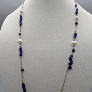 Primary Photo - BRAND: J CREW STYLE: NECKLACE COLOR: GOLD OTHER INFO: ROYAL BLUE BEEDS SKU: 115-115309-15642