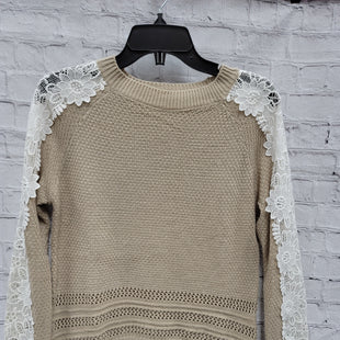 Primary Photo - BRAND: LISTICLE STYLE: SWEATER LIGHTWEIGHT COLOR: SAND SIZE: M OTHER INFO: LACE SLEEVES SKU: 115-115347-2397
