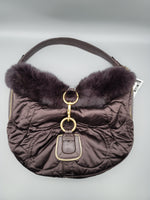 Primary Photo - BRAND: COACH <BR>STYLE: HANDBAG <BR>COLOR: BROWN <BR>SIZE: MEDIUM <BR>OTHER INFO: RABBIT FUR <BR>SKU: 115-115309-18495