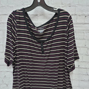 Primary Photo - BRAND: LANE BRYANT STYLE: TOP SHORT SLEEVE COLOR: BLACK SIZE: 3X OTHER INFO: PURPLE/TAN STRIPES SKU: 115-115309-21364