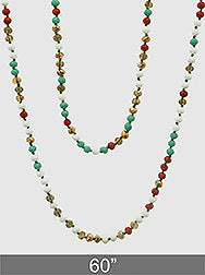 Faceted Glass Bead Long Necklace