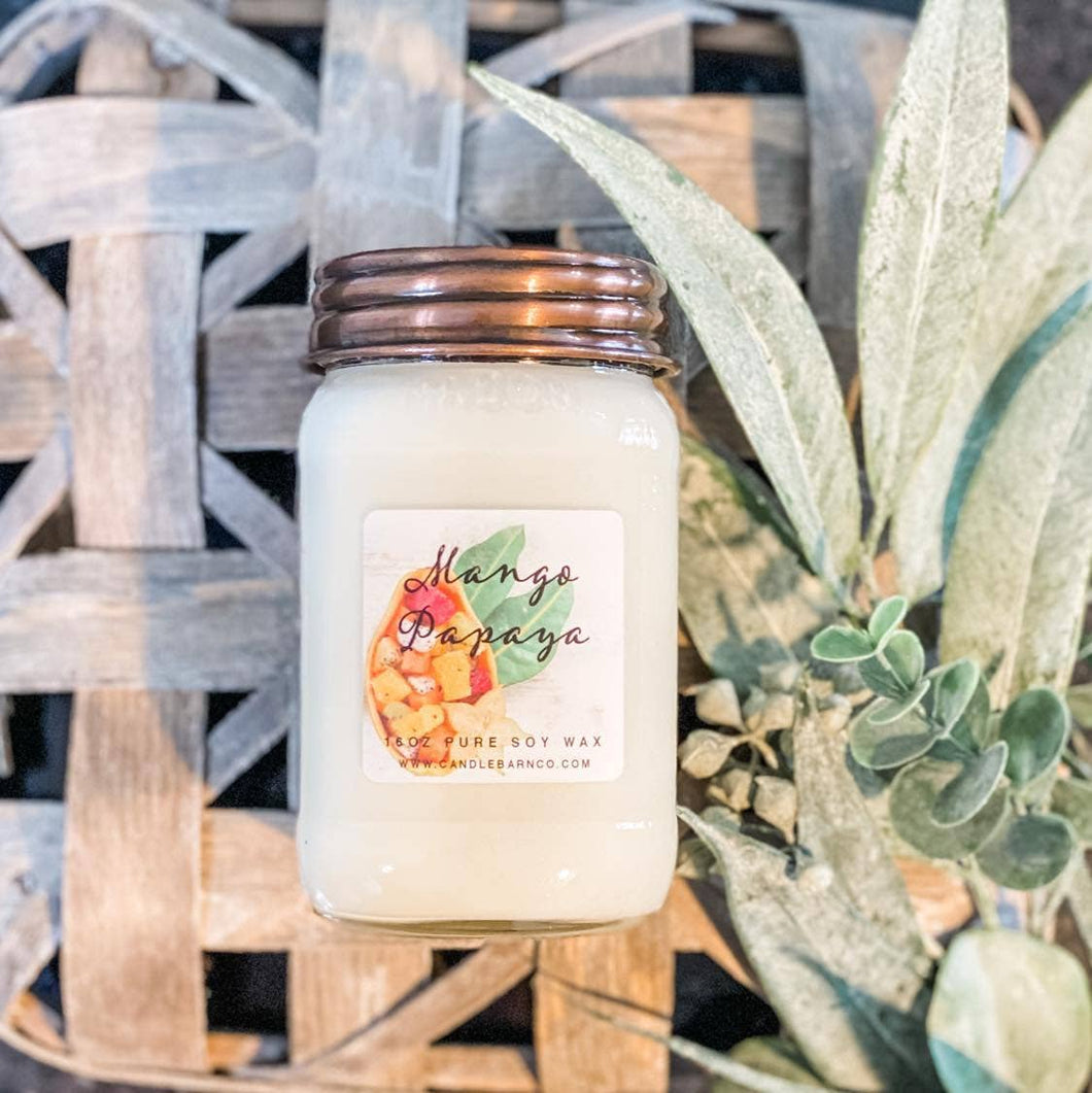 16oz Mango Papaya Mason Jar Soy Candle