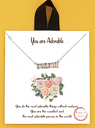 Rhodium Dipped You Are Adorable Floral Delicate Necklace