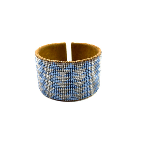 Beaded Leather Cuff in Silver & Blue