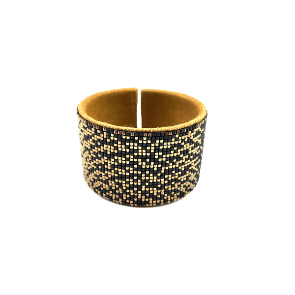 Beaded Leather Cuff in Gold & Black