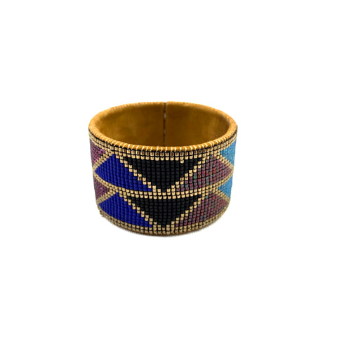 Beaded Leather Cuff in Multicolored Zigzag