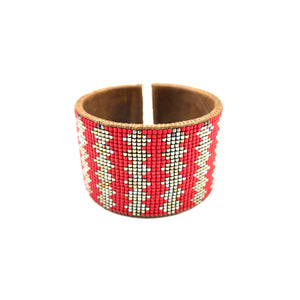 Beaded Leather Cuff in Silver & Red