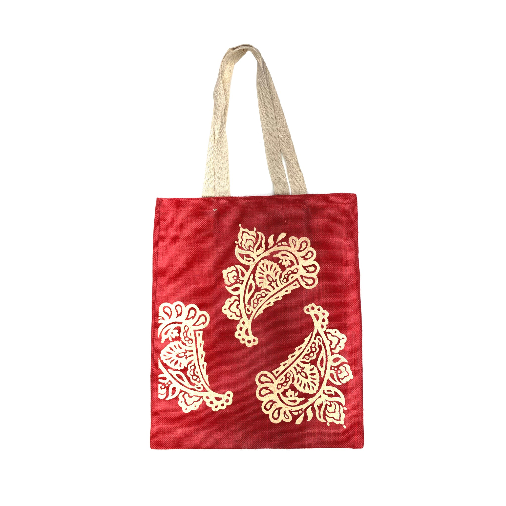 Burlap Tote in Red