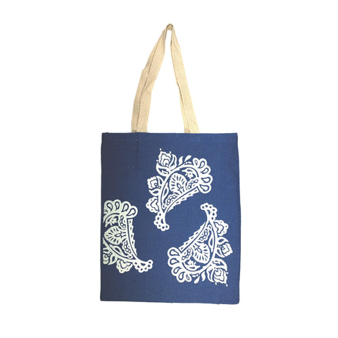 Burlap Tote in Royal Blue