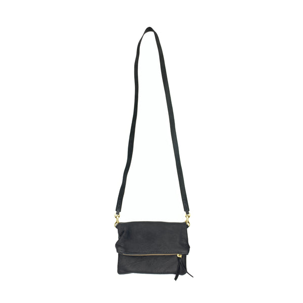 Essential Leather Foldover Crossbody in Black