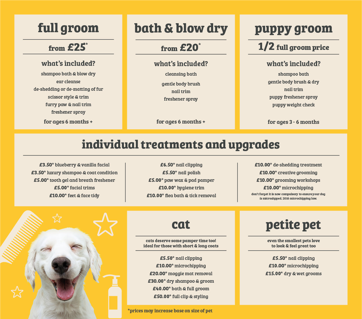 salon grooming prices