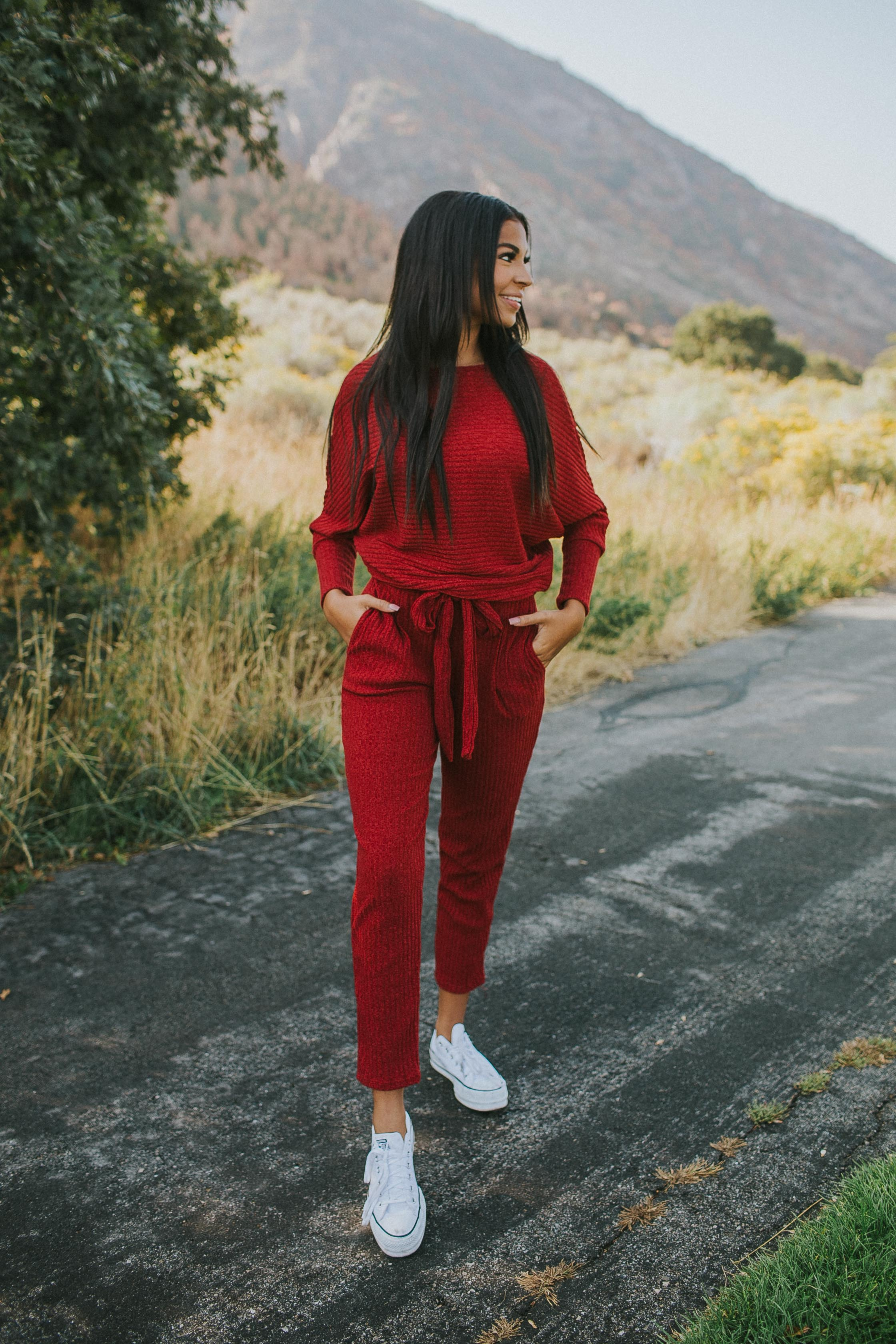 Golden Hour Loungewear Set in Ruby