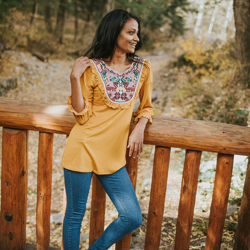 Isabelle Embroidered Top in Mustard