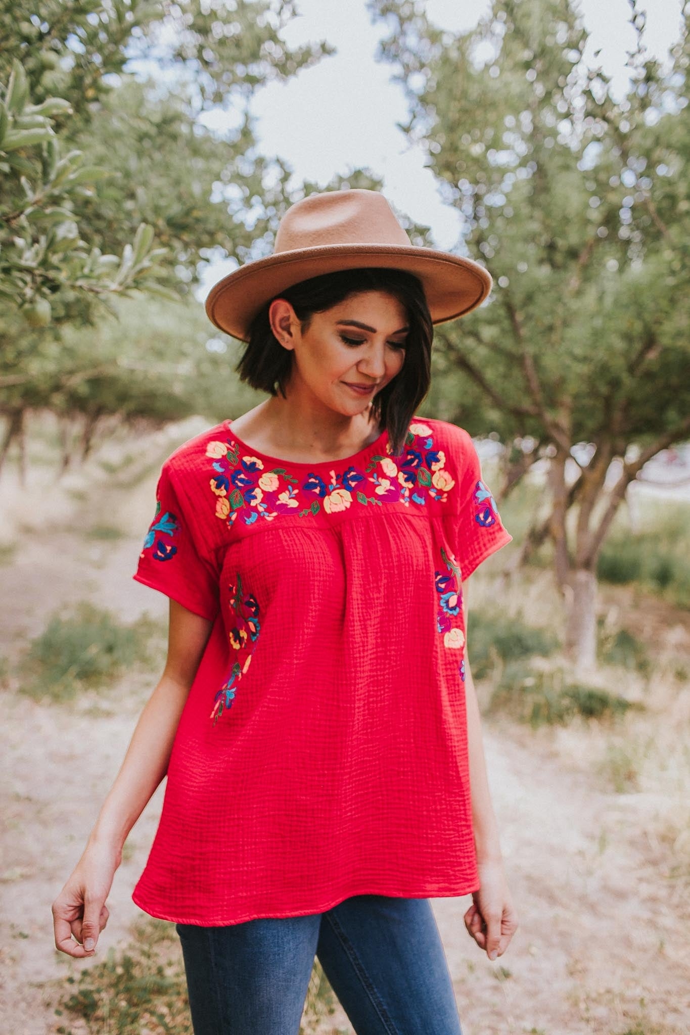 Monterrey Embroidered Top in Red