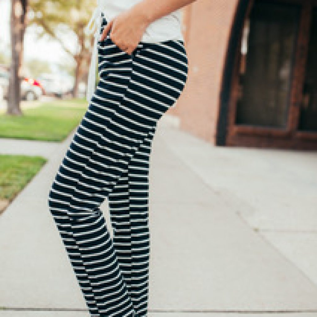 Striped Joggers in Black