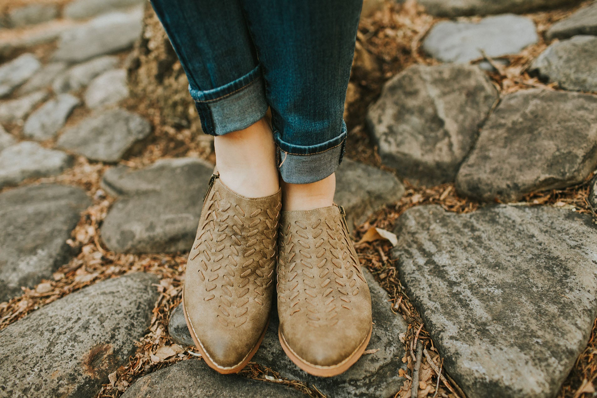 Braided Booties in Khaki