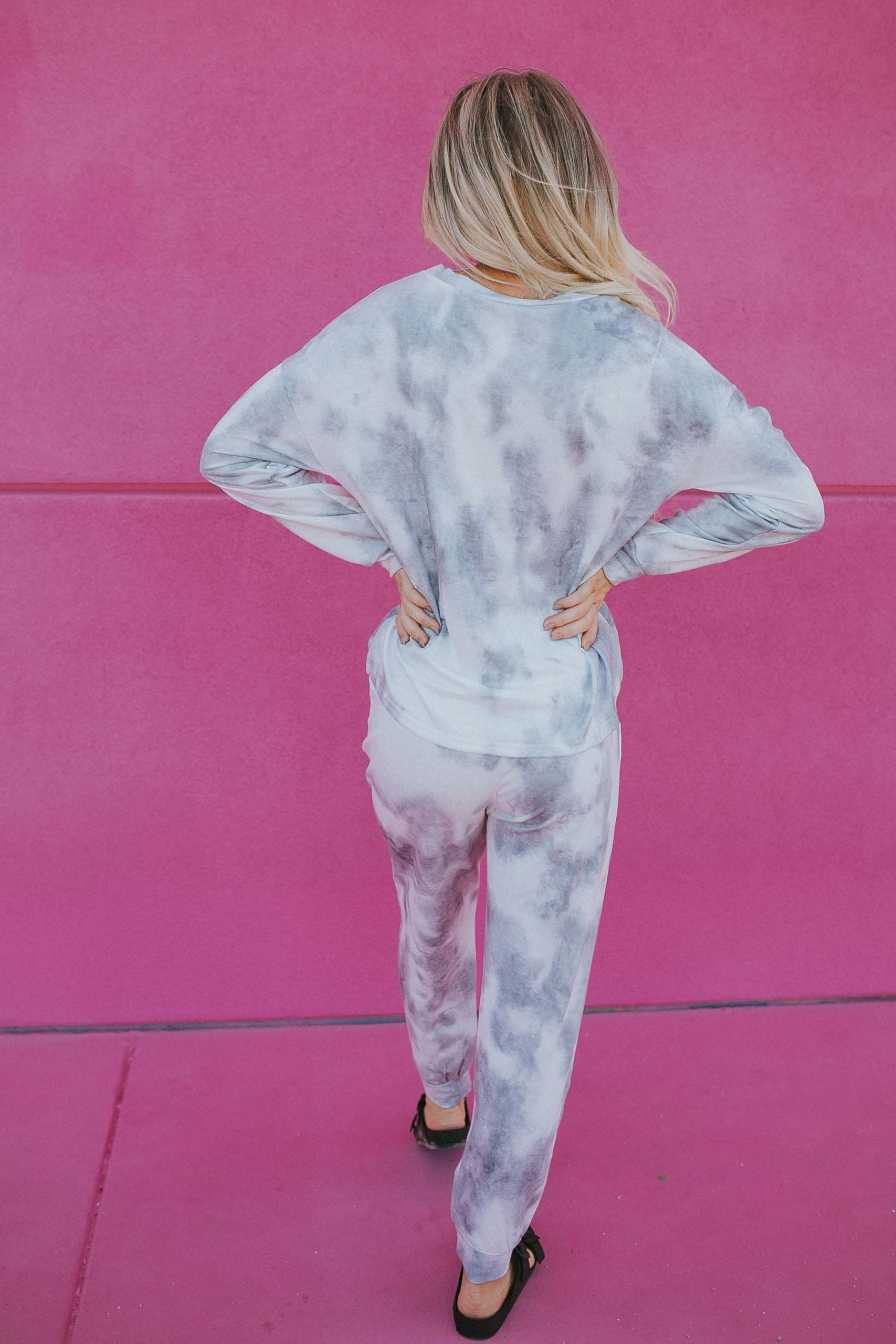 Tie Dye Loungewear Set in Blue-Grey