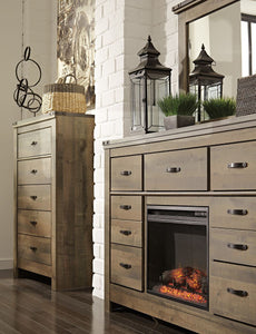 Trinell Dresser with Electric Fireplace