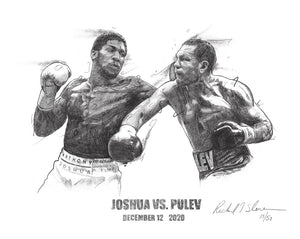Anthony Joshua vs. Kubrat Pulev, Rare Artist Signed Limited Edition Prints Of Only 50