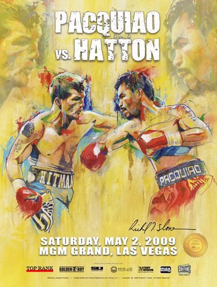 HATTON vs PACQUIAO Official Onsite fight poster by Richard T. Slone