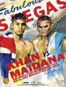 KHAN vs MAIDANA Official Onsite fight poster by Richard T. Slone