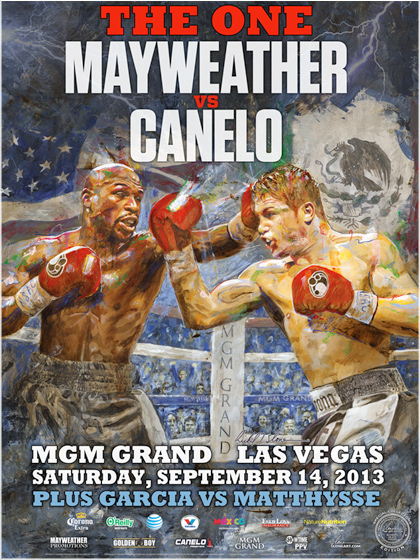 "MAYWEATHER vs CANELO ""Action"" Official Onsite fight poster by Richard T. Slone"
