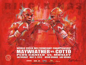 MAYWEATHER vs COTTO Official Onsite fight poster by Richard T. Slone