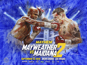 MAYWEATHER vs MAIDANA 2 Official Onsite fight poster by Richard T. Slone