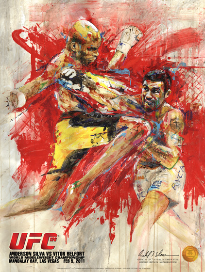SILVA vs BELFORT UFC 126 Official Onsite fight poster by Richard T. Slone