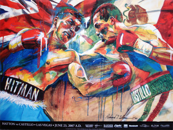HATTON vs CASTILLO Official Onsite fight poster by Richard T. Slone