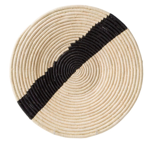 Striped Black Natural Raffia Plate I