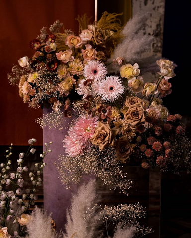 Dried and fresh flower display