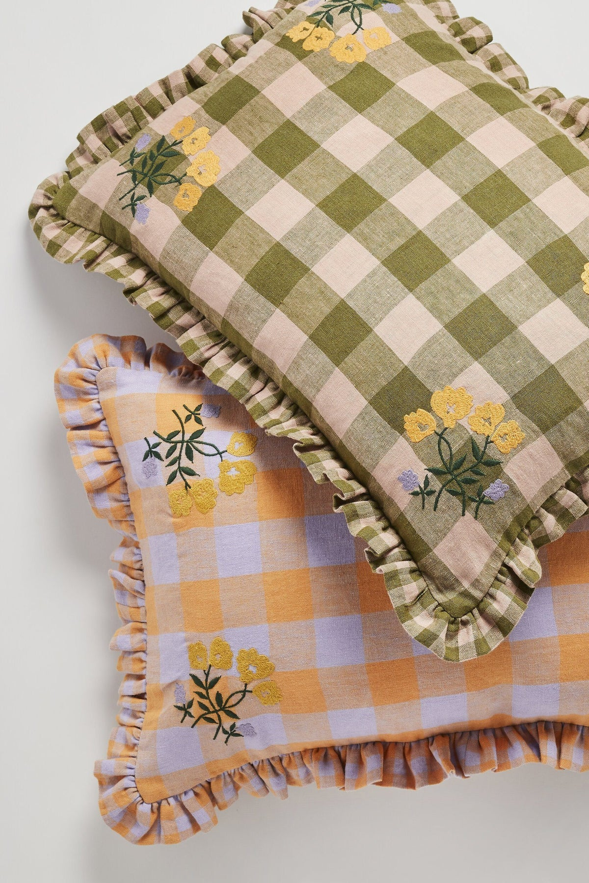Gingham and Embroidery Cushion - Olive Soft Furnishings Projekti Tynny