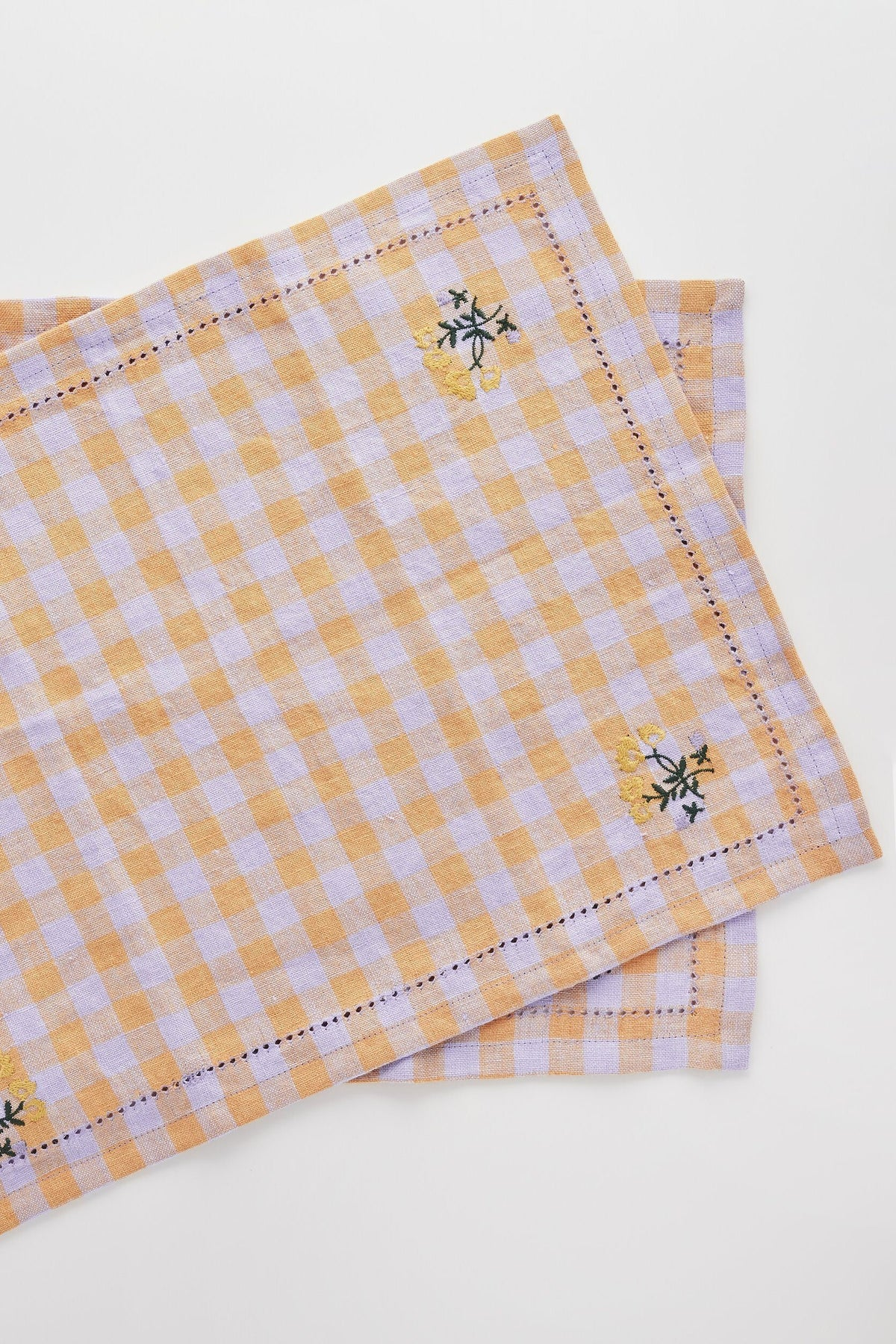 Gingham Embroidered Placement/Napkin - Apricot Soft Furnishings Projekti Tynny