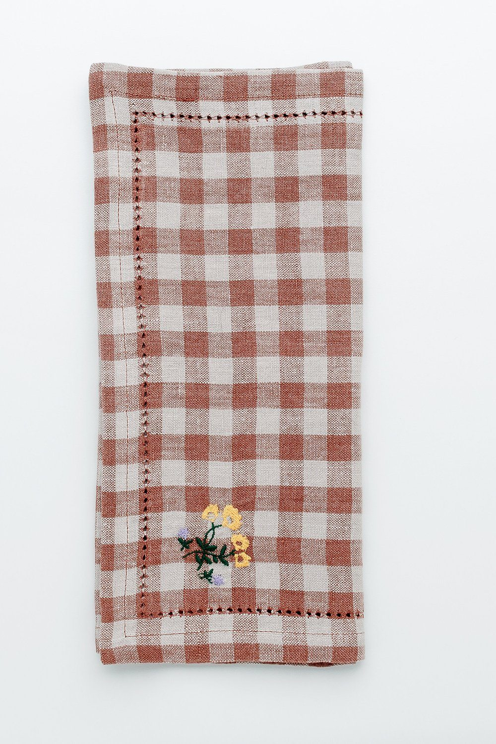 Gingham Embroidered Placement/Napkin - Blush Soft Furnishings Projekti Tynny