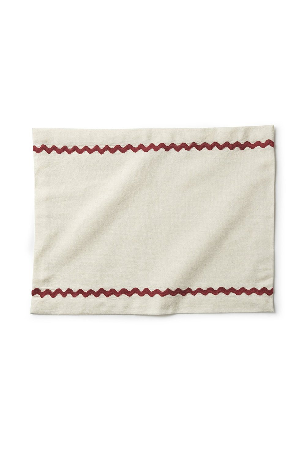 Hand-embroidered zig-zag placemat - White and Red Soft Furnishings Jore Copenhagen