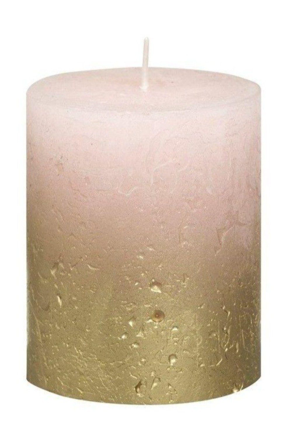 Rustic Pillar Candles - Light Pink and Gold Candles & Fragrance Blume Small