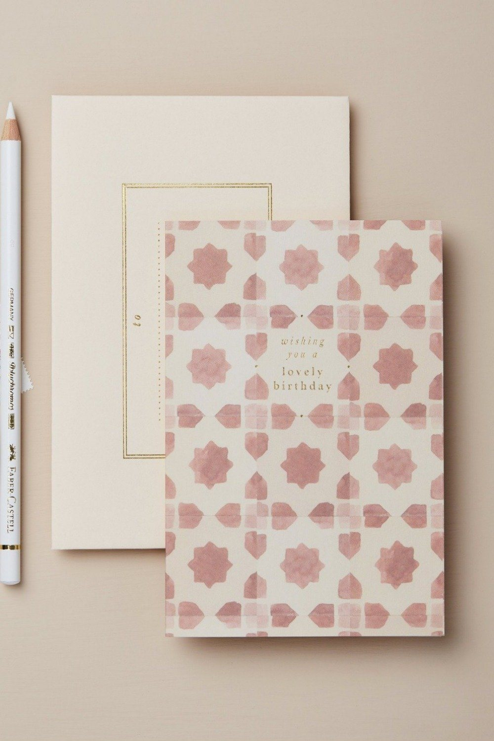 Wanderlust Card - Pink Tiles Wishing You a Lovely Birthday Gifts & Stationery Wanderlust