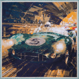 Classic motor racing silk pocket square by Otway & Orford, 'Victory At Last'