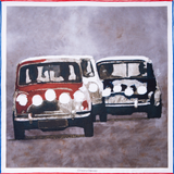 Italian Job Mini Coopers silk pocket square by Otway & Orford, 'Put Your Foot Down'