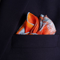 Spitfire silk pocket square by Otway & Orford, Lone Fighter, folded in top pocket. Made & hand-sewn in England in collaboration with artist Richard Knight