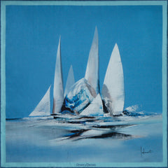 Sailing silk pocket square by Otway & Orford, Blue Bird, made & hand-sewn in collaboration with maritime artist Pierre Joubert