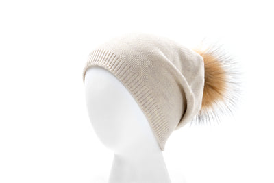 Women's winter hat with real fur pom