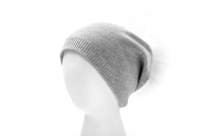 Ladies Winter Beanie with real fur pompom