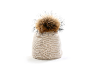Womens winter hat with real fur pompom