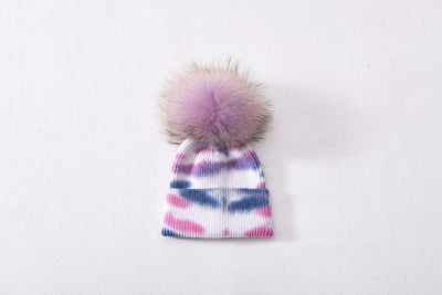 Children's winter hat with real fur pompom