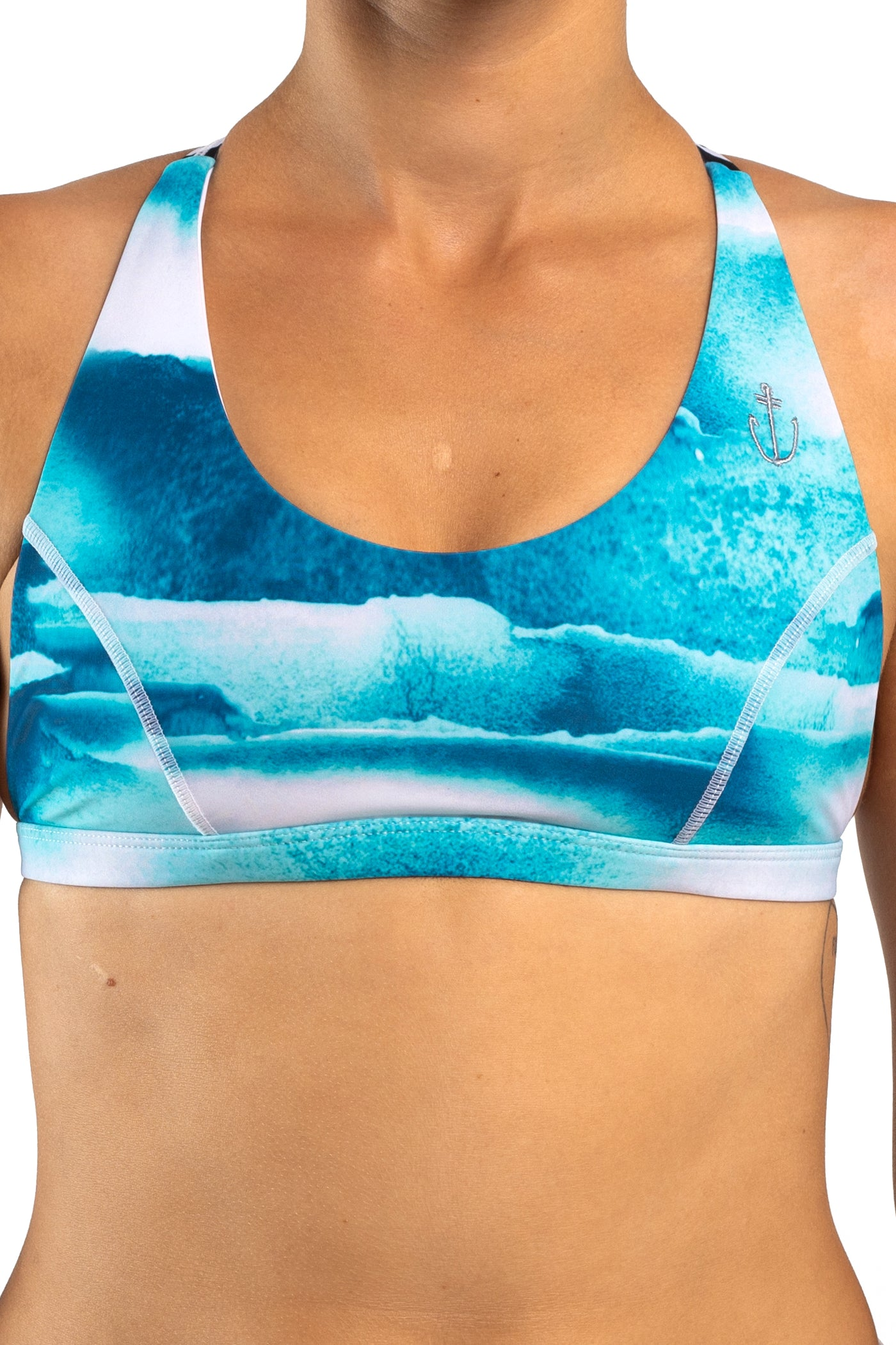 RECYCLED // SIGNATURE SURF BIKINI TOP Shades of Blue