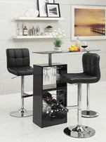 Contemporary Black and Chrome Adjustable Bar Stool (Set 2) - Furniture Lobby