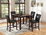 Ducey Dark Brown Faux Marble Counter-Height  Table - Furniture Lobby